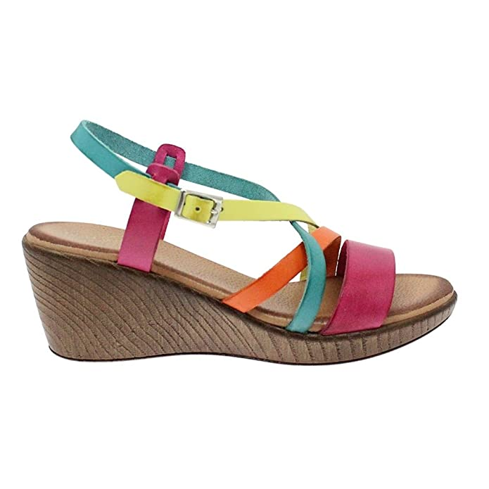 256afd1c2 Lunar Amaris Multi-Coloured Leather Wedge Sandal 4 Multi  Amazon.co.uk   Shoes   Bags