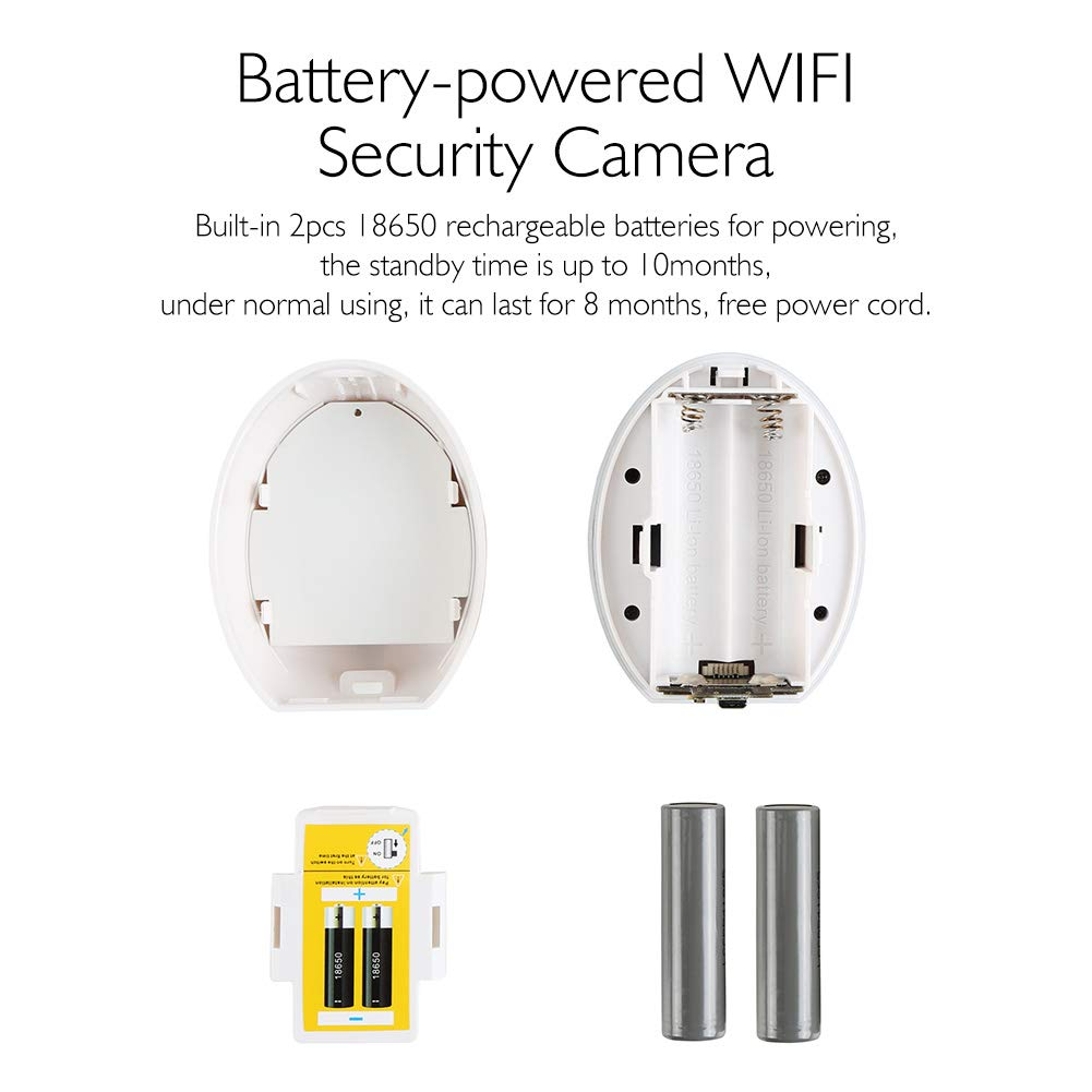WiFi Camera, AKASO HD 100% Wire-Free 720P Rechargeable Surveillance Batteries Powered for Home Security with PIR Motion Detect, Two-Way Audio,Micro SD Card Storage,Night Vision,Phone View (Hawkeye 1) by AKASO (Image #4)