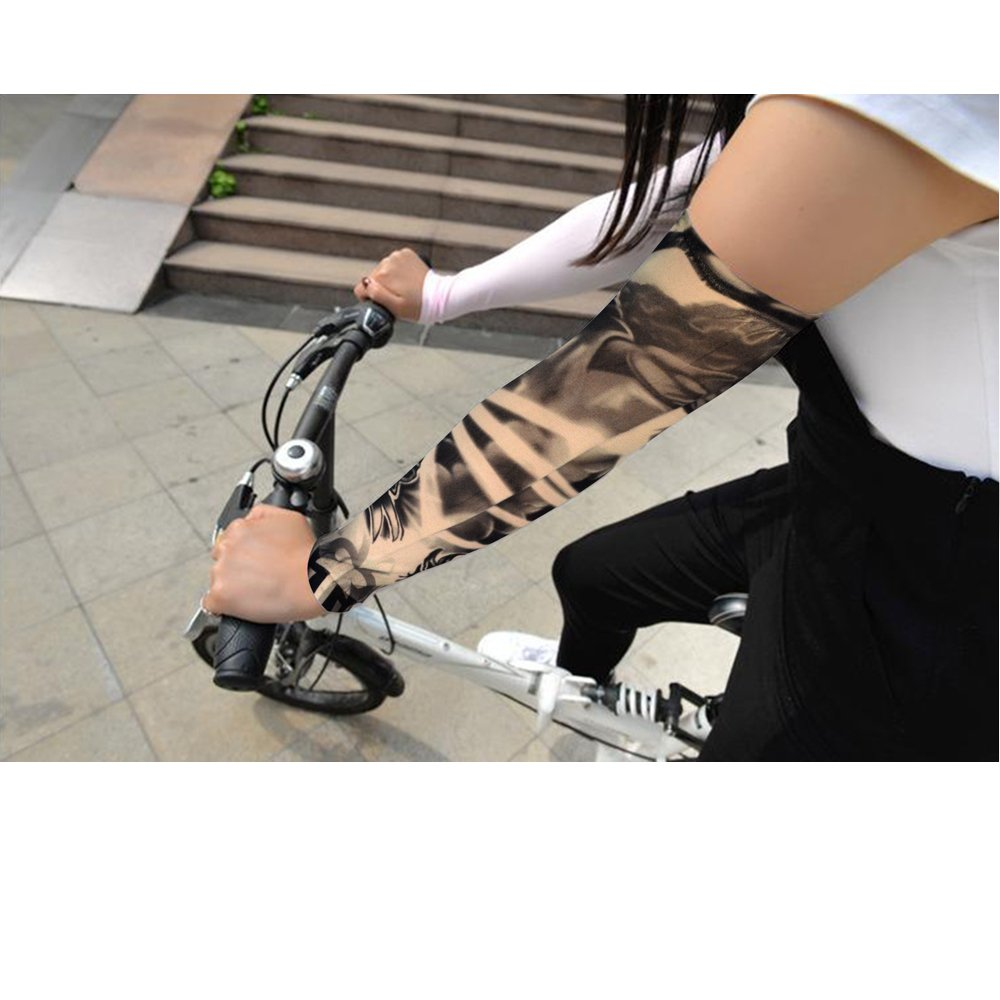 HOVEOX 20pcs Temporary Tattoo Arm Sleeves Arts Fake Slip on Arm Sunscreen Sleeves Body Art Stockings Protector -Designs Tribal, Tiger, Dragon, Skull, and Etc Unisex Stretchable Cosplay Accessories by HOVEOX (Image #6)
