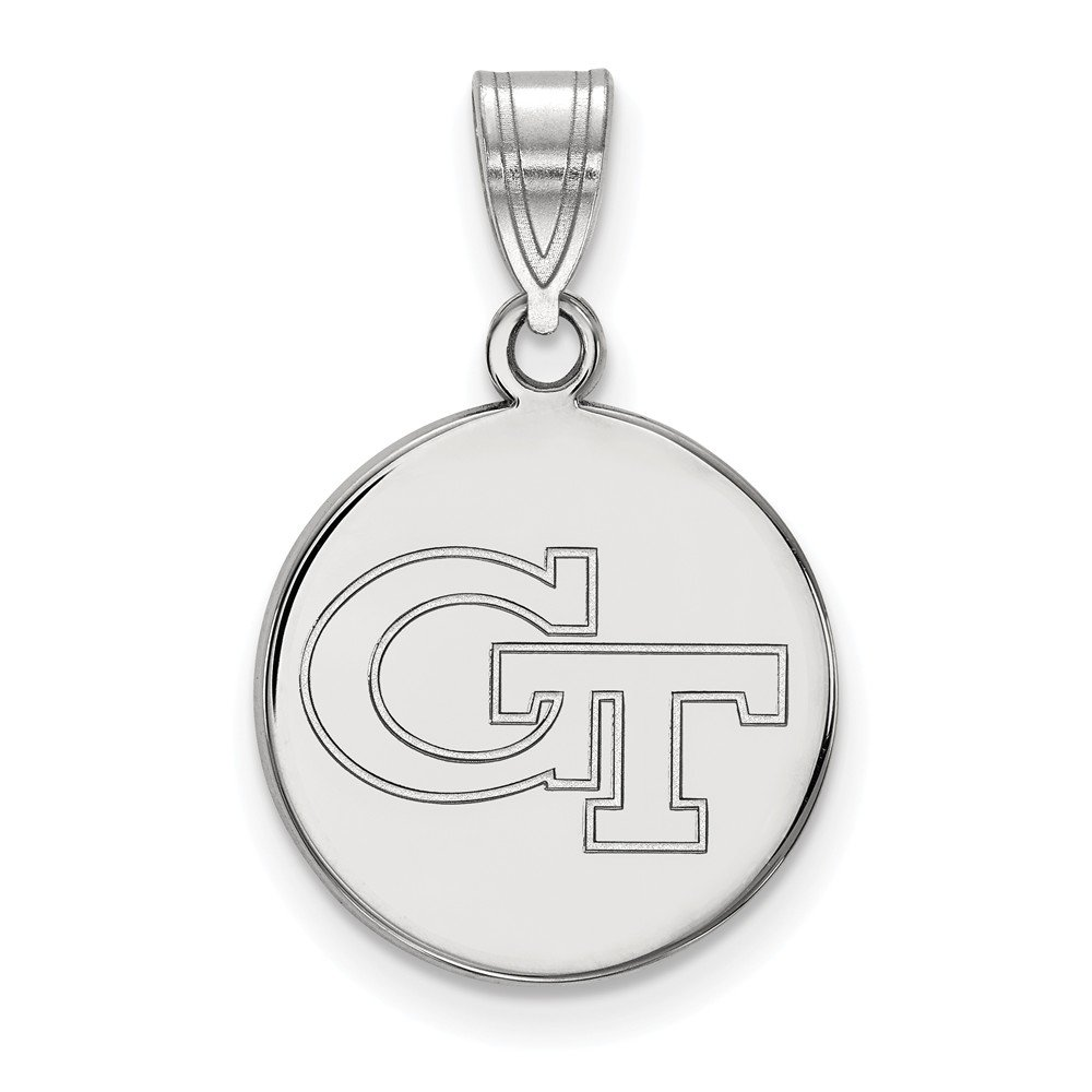 24 mm x 15 mm 925 Sterling Silver Officially Licensed Georgia Institute of Technology Medium Disc Pendant