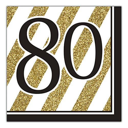 80th Birthday Napkins (Black and Gold 80th Birthday Napkins (48)