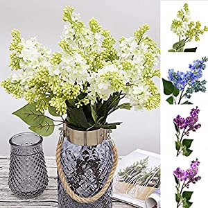 Powerfulline 1Pc Artificial Lilac Fake Flower Garden Wedding Bouquet Party Home Cafe Decor 4 Color White 103