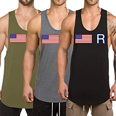 f97a4b6a1 Rexcyril Men's 3 Pack Workout Gym Tank Top Fitness Bodybuilding Stringer  Muscle Cut Sleeveless T Shirt