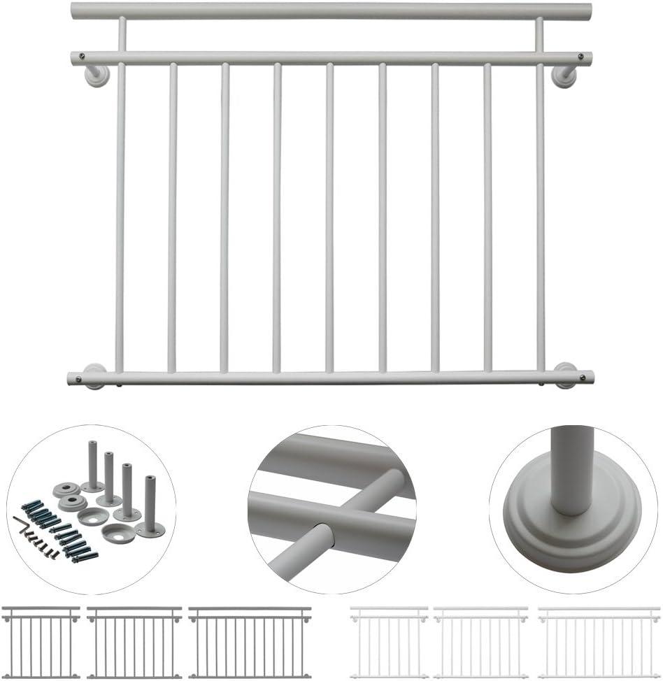Gr/ö/ße:128 x 90 cm V2Aox Franz/ösischer Balkon Gel/änder Balkongel/änder 90 x 100-225 cm Schwarz Wei/ß Anthrazit Farbe:Schwarz