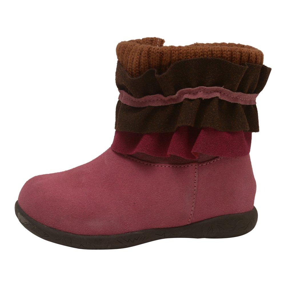 L'Amour Little Girls Fuchsia Nubuck Leather Ruffle Collar Boots 7 Toddler