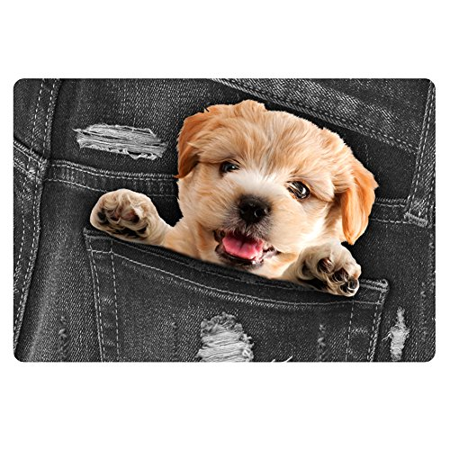 Instantarts Lovely Dog Jeans Pattern Inside House Decor Doormat Area Rug Large Mouse Pad Black