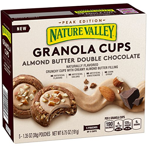 Nature Valley Peak Edition Granola Cups, Almond Butter Double Chocolate, 5 Pouches, 1.2 oz (Nature Valley Peak Edition Almond Butter Granola Cups)