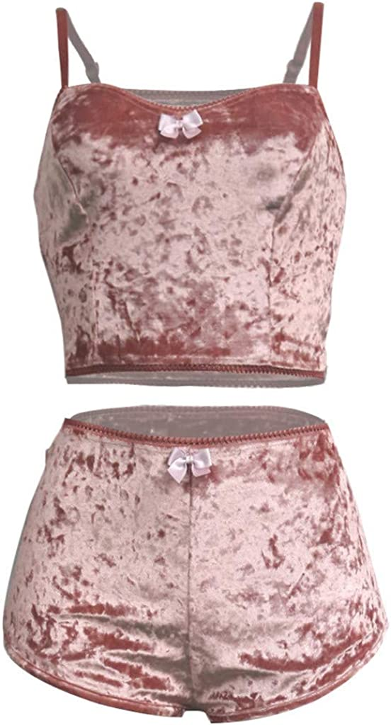 Womens Two-Piece Velvet Shorts Outfit V-Neck Bow Lace Sleeveless Vest+Pant Suit