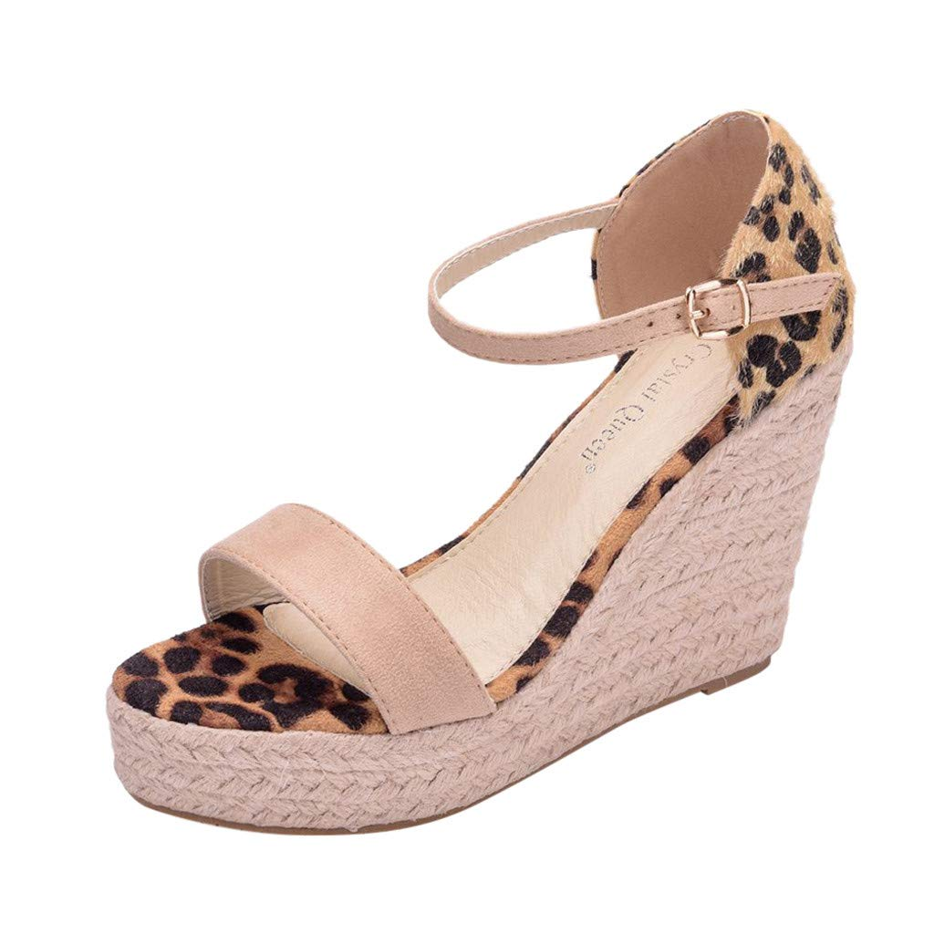 Women's Leopard Wedge Platform Sandals Open Toe Espadrilles Ankle Strap Buckle Party Summer Dress Shoes Beige