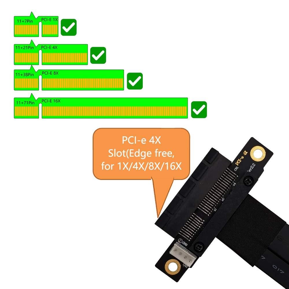 180/° PCI-E Slot M.2 NGFF NVMe Key M to PCIe 3.0 X4 Extension Cable/