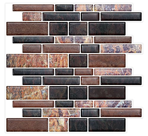 Peel & Stick Backsplash Wall Tiles for Kitchen & Bathroom, Self Stick-On Sticker Tiles for Backsplash - Removable, Self Adhesive - 10