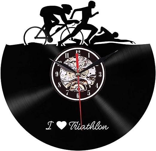 ZJYSM Triatlón, silueta deportiva, reloj de pared, bicicleta ...