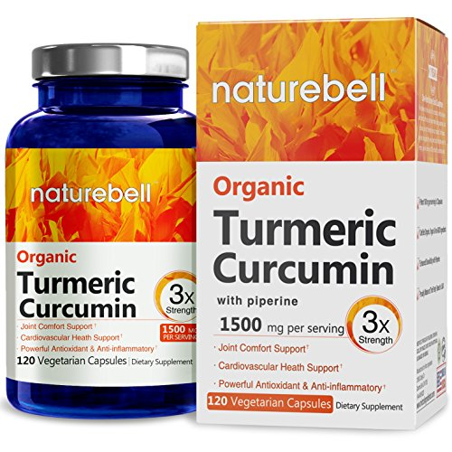 Nature Bell Organic Turmeric Curcumin 1500mg 120 Veg caps with Piperine (Black Pepper Extract), Made in USA, Powerful Anti-Inflammatory & Extra Strength Pain Relief & Joint Support Supplement