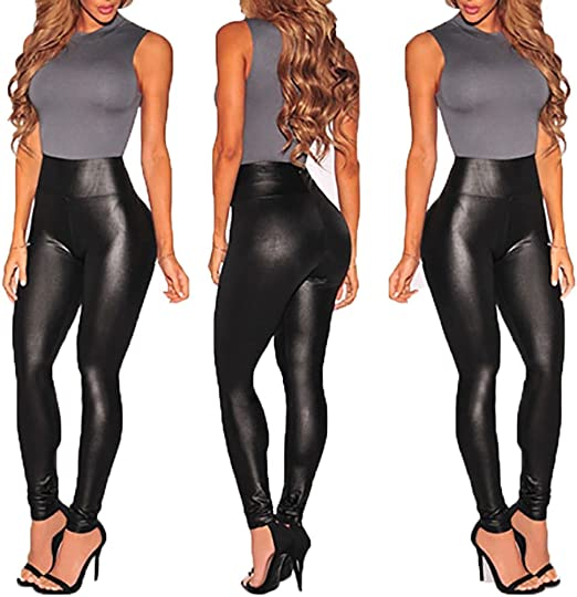 Women Stretchy PU Leather Trousers Skinny High Waist Leggings Pencil Pants Black
