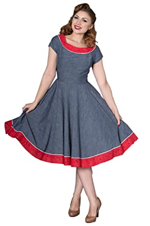 e8f222666e9f6e Sheen Damen Kleid Carrla Retro Chambray Kurzarm Swing Dress: Amazon.de:  Bekleidung