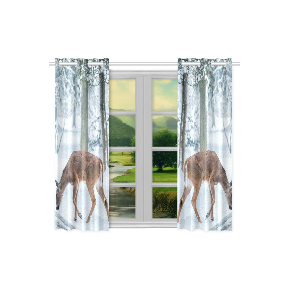 your-fantasia Christmas Deer Street Snow Winter Nature Animal Window Curtain Kitchen Curtain Two Pieces 26 x 39 inches by your-fantasia (Image #2)