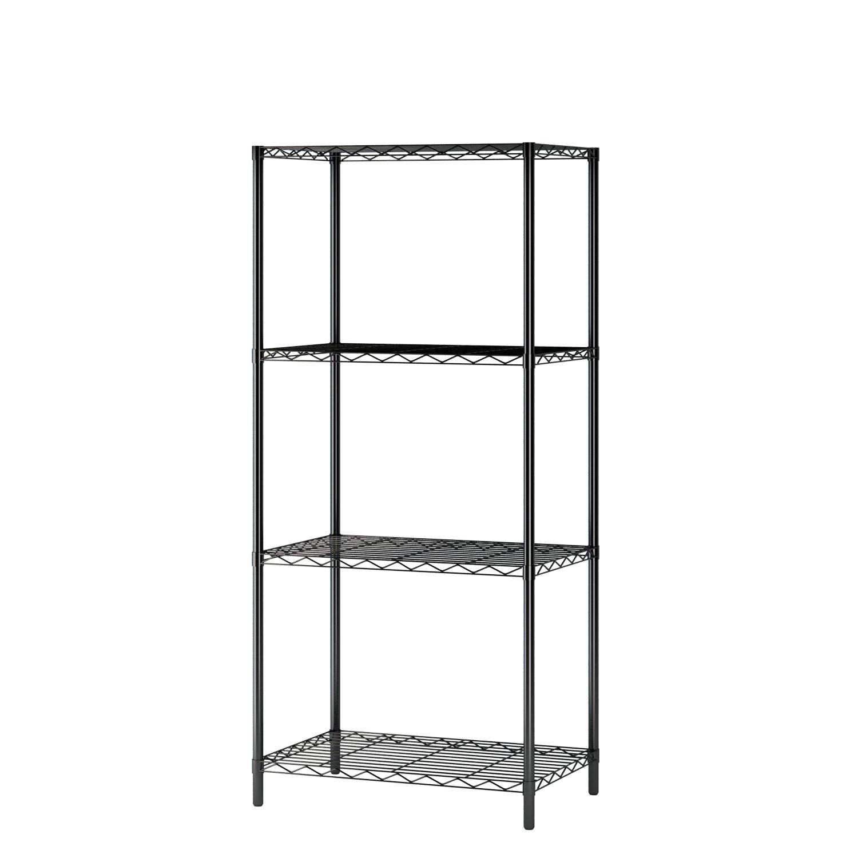 Home-Like 3-Tier Wire Shelving Metal Storage Rack Shelving Unit Storage Shelf Pantry Food Shelf Plant Shelves in Black for Kitchen Living Room Office Garage 21.06''Wx13.78''Dx32.08''H(3-Tier/Black) HL-C03-BLK