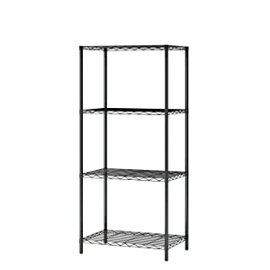 """Homebi 4-Tier Wire Shelving 4 Shelves Unit Metal Storage Rack Durable Organizer Perfect for Pantry Closet Kitchen Laundry Organization in Black,21""""Wx14""""Dx46.5""""H"""