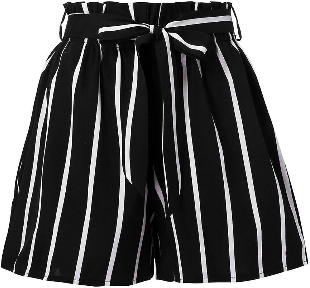 InKach Womens Casual Losse Shorts Elastic Waist Stripe Prined Short Pants with Pocket Workout Yoga Shorts