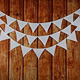 INFEI Solid White Double Layer Cotton Fabric Flag Buntings Garlands Wedding Birthday Party Decoration