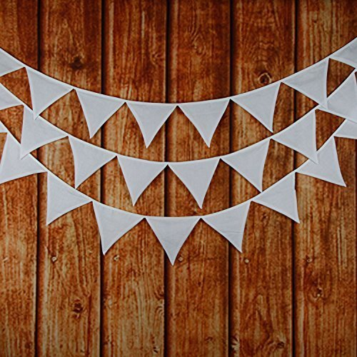 INFEI Solid White Double Layer Cotton Fabric Flags Bunting Banner Garlands for Wedding, Birthday Party, Outdoor & Home Decoration (3.2M/10.5Ft)