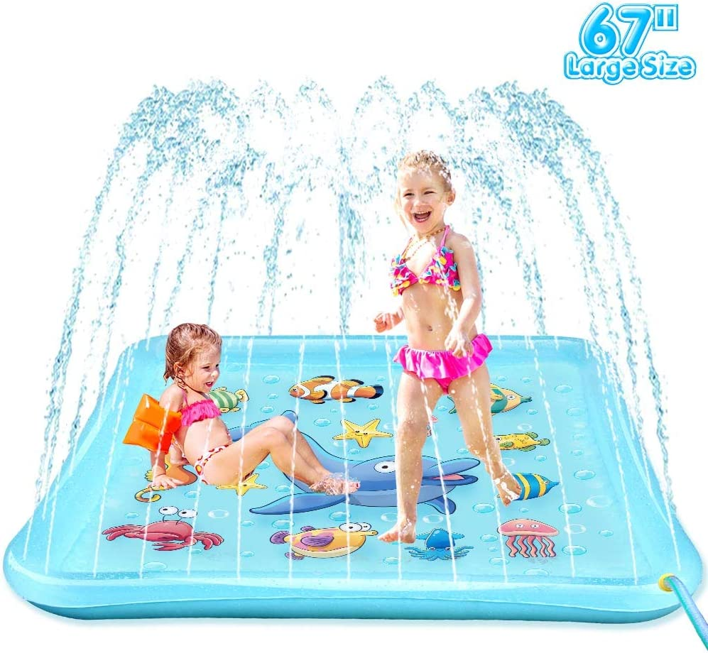 """EpochAir Splash Pad - 67"""" Sprinkler for Kids, Inflatable Wading Pool Outdoor Water Toys Summer Fun Game, Perfect Swimming Pool Toy for Babies and Toddlers: Toys & Games"""