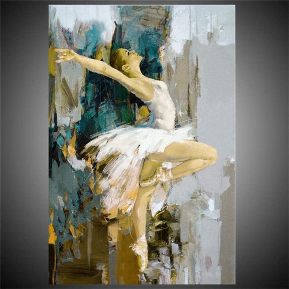 ERQINGYH Cuadros Decorativos Bailarina De Ballet Pinturas Al Óleo Lienzo Pintado A Mano Pintura Chica Cartel Moderno Decoración para El Hogar Arte De La Pared para La Sala De Estar De Arte