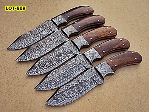 LOT-809, Custom Handmade Damascus Steel Skinner Knife Set (Lot of Five) - Solid Rose Wood Handle with Damascus Steel Bolster