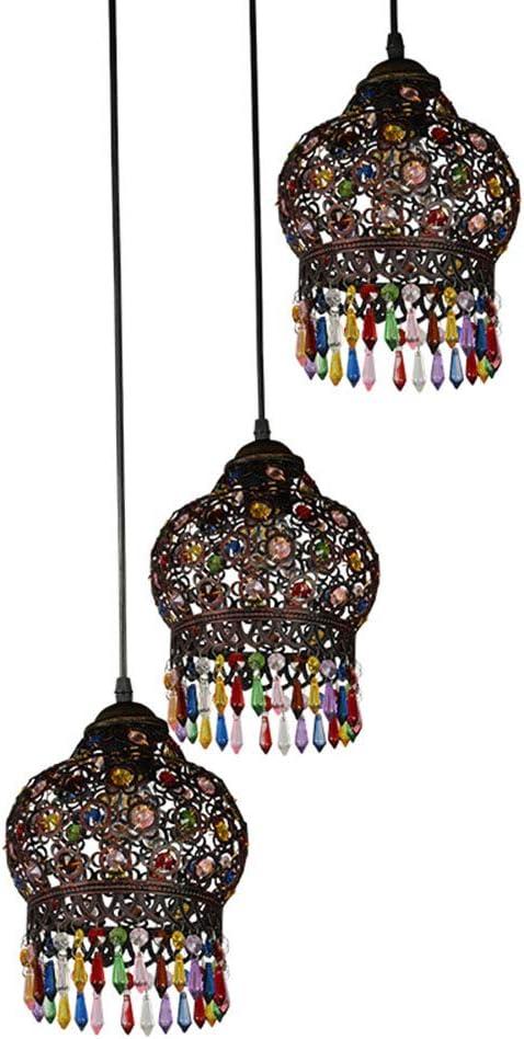 SXFYHXY Luz Colgante Estilo Tiffany Diseño de Piedras Preciosas Lámpara de Techo Color Pantalla Pantalla de Barra de Sala de Estar
