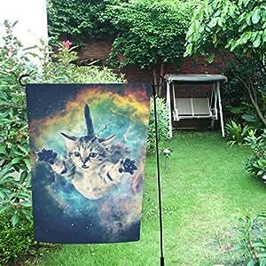 Happy más Custom Galaxy Hipster gato decoración doble jardín bandera 28x 40inch