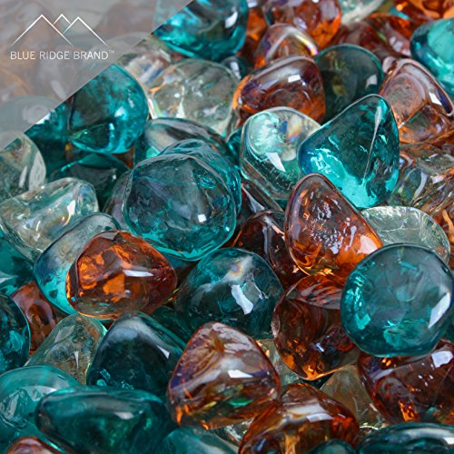 Blue Ridge Brand™ Aqua, Clear, and Pink Champagne Blend Reflective Fire Glass Diamonds - 20 Pound Professional Grade Fire Pit Glass - 1