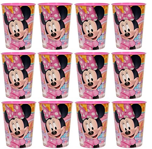 Disney Lot of 12 Minnie Mouse 16oz Party Plastic Cup ~Party Favor Supplies~