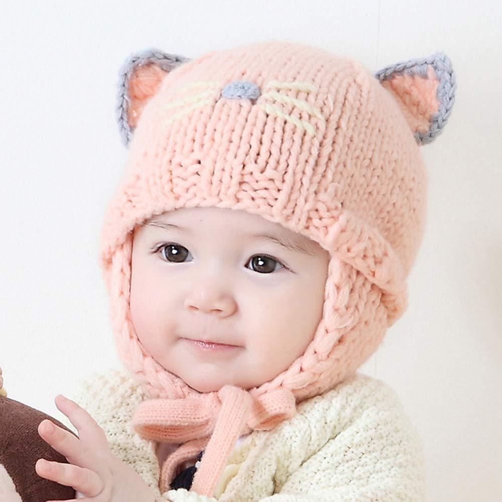 HuntGold Winter Warm Earflaps Cap Cartoon Cat Knitting Wool Hat Soft Hat for Kids Baby Infants Boys Girls- White