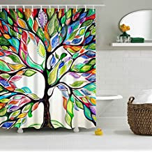 "Colorful Tree Four Seasons Shower Curtain, Extra Long Bath Decorations Bathroom Decor Sets with Hooks Marriage Gifts for Men and Women 72""(w) x 72""(h) Inches"