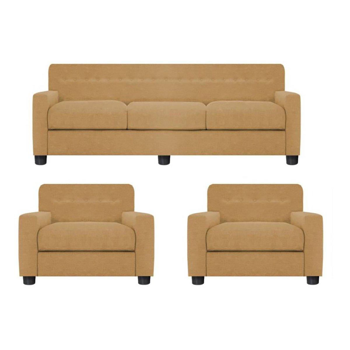 Furnituremaxx Dahra Contemporary Jute Color Fabric Sofa Set
