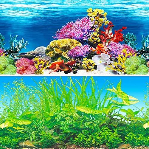 Amalong New Coral, Aquatic Scenery Background Aquarium Background Decoration 25 x 15 (inches)