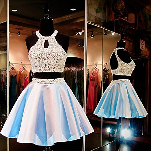 Ivory Yellow Two and Ivory Halter Short Homecoming Women's CuteShe Prom amp;Yellow Pieces Dresses 1qwIXPWc