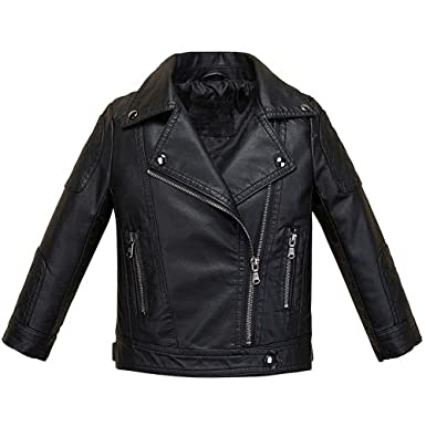 12bfb099a Image Unavailable. Image not available for. Color: LJYH Baby Boys Girls  Fashion PU Leather Jacket Kids Zipper Coat Black