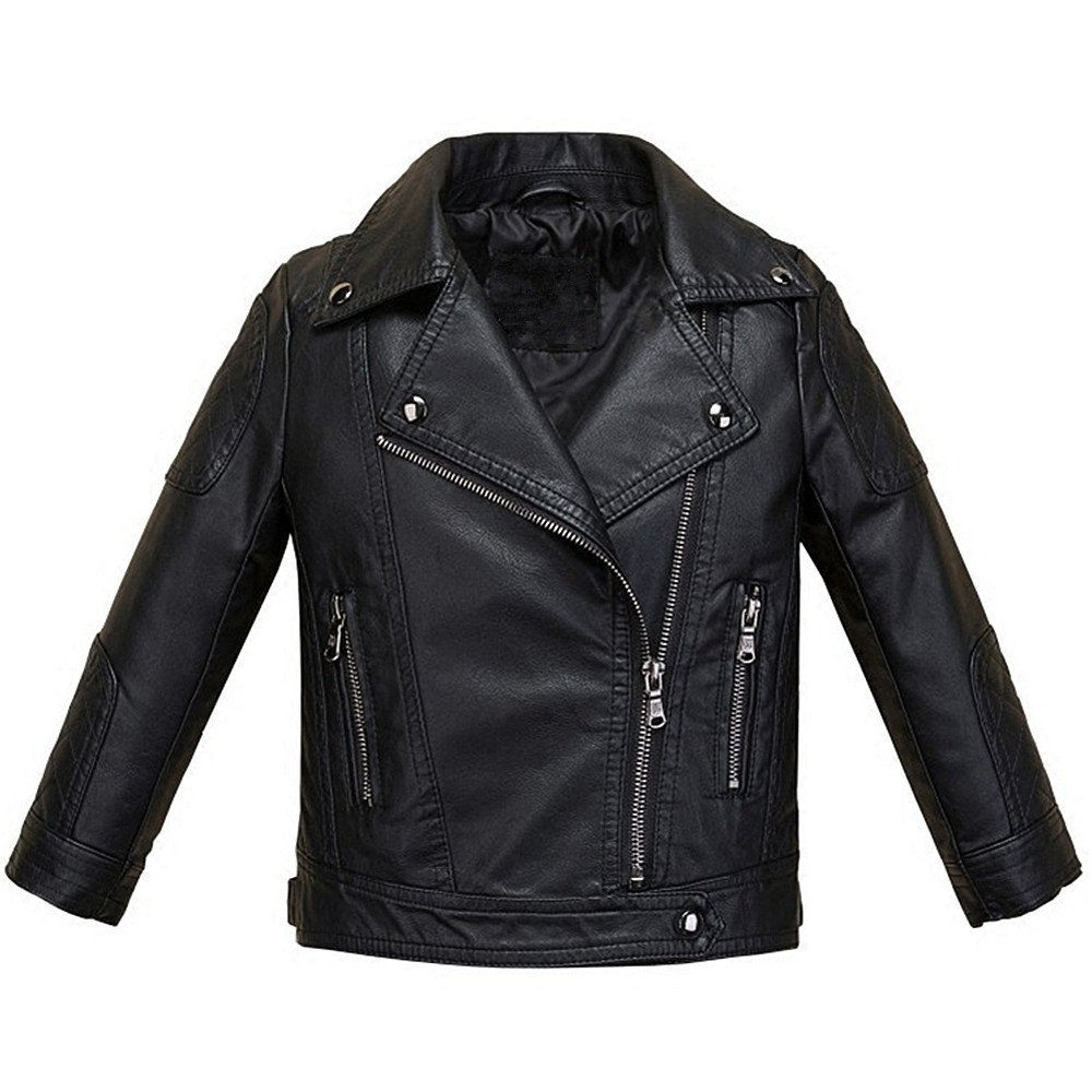 LJYH Baby Boys Girls Fashion PU Leather Jacket Kids Zipper Coat