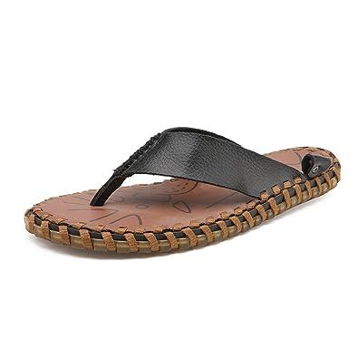 Ruiyue Thong Flip Flops Schuhe Echtes Leder Strand Hausschuhe Rutschfeste Weiche Flache Sandalen Schwarz Abriebfestigkeit...