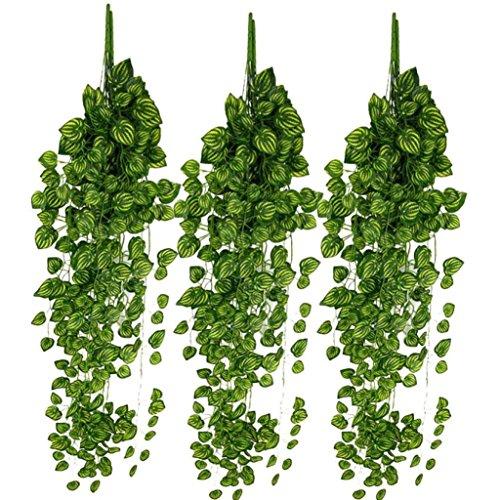 Corsion 6Pcs Ivy Leaf, Artificia l Fake Leaves Hanging Vines Plant Leaves Garland Home Garden Poison Ivy Costume (C)