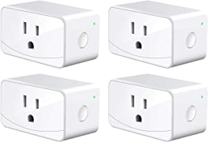 meross Smart Plug Mini WiFi Outlet 16A, Compatiable with Alexa, Google Assistant and SmartThings, App Remote Control, Timer, FCC and ETL Certified, No Hub Required, 4 Pack