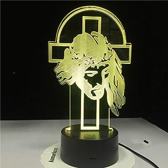 KangYD Cross 3D Night Light, Lámpara De Mesa LED, Decoración De ...