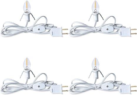 Dept 56 White Single Socket Light Cord White Bulb Black Clips Regular Plug
