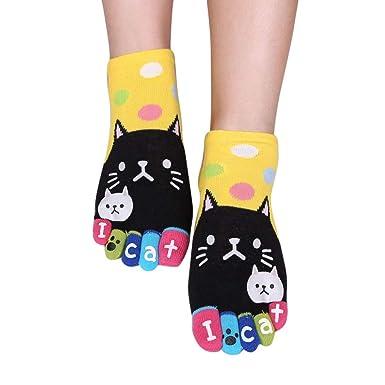 Pingtr calcetines de Lindo gato cinco dedos calcetines para hombres y mujeres, vuelo, viaje