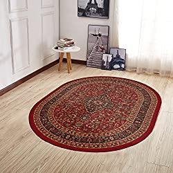 "Ottomanson Ottohome Collection Persian Heriz Oriental Design Non-Skid (Non-Slip) Rubber Backing Area Rug, 5' X 6'6"" Oval, Dark Red"