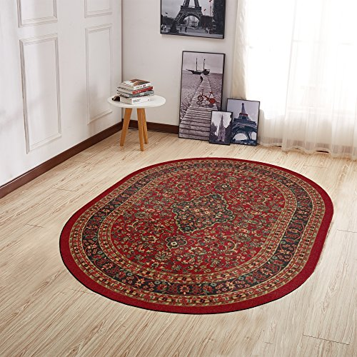 Edge Red Contemporary Rug - Ottomanson Ottohome Collection Persian Heriz Oriental Design Non-Skid (Non-Slip) Rubber Backing Area Rug, 5' X 6'6