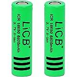 LiCB 2 Pack 6800mAh 18650 Battery Rechargeable Li-ion Lithium 3.7v Batteries for Flashlight LED Light (18650)