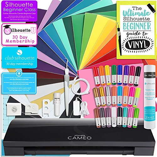 Silhouette Cameo 3 Limited Black Edition Bluetooth Starter Bundle with 24 Oracal 651 Sheets, Transfer Paper, Guide, Class, 24 Sketch Pens (24 sheets)