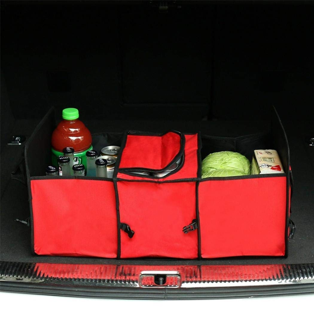 sholdnut Car Trunk Storage Drawer Organizer Collapsible Grocery Storage Container with 3 Compartments for SUV Truck Auto Vehicle Car Auto Minivan
